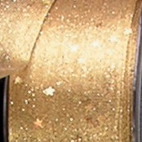 """Sheer Metallic Gold with Stars Wired Craft Ribbon 1.5"""" x 25 Yards - IMAGE 1"""