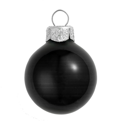 """6ct Black and Silver Shiny Glass Christmas Ball Ornaments 4"""" (100mm) - IMAGE 1"""