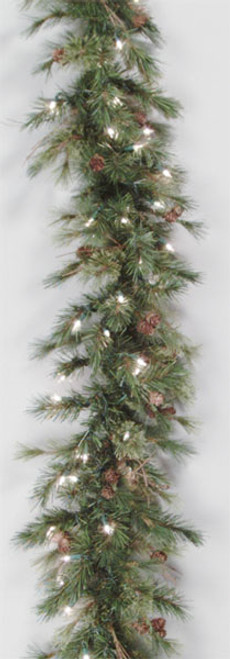 "6' x 9"" Pre-Lit Mixed Country Pine Artificial Christmas Garland - Clear Lights - IMAGE 1"