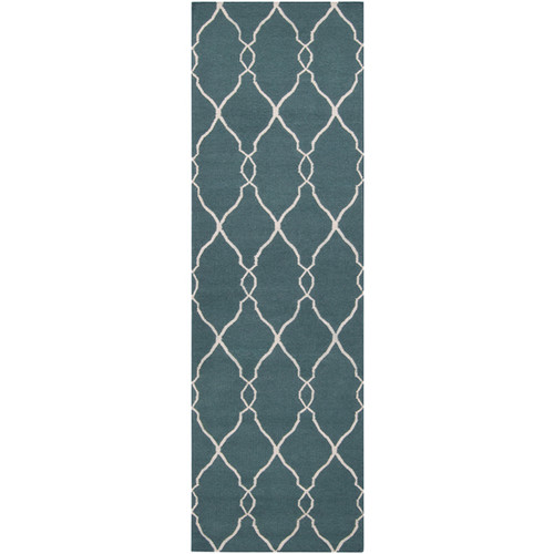 2.5' x 8' Blue and Beige Damask Hand Tufted Wool Area Throw Rug Runner - IMAGE 1