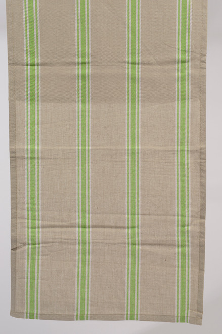 """55"""" x 15.75"""" Naturelle et Terreuse Brown, White and Green Striped Table Runner - IMAGE 1"""