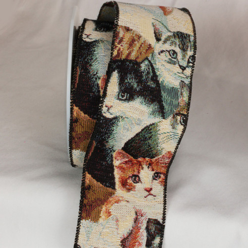 """Brown and Gray Cat Tapestry Wired Craft Ribbon 3"""" x 9 Yards - IMAGE 1"""