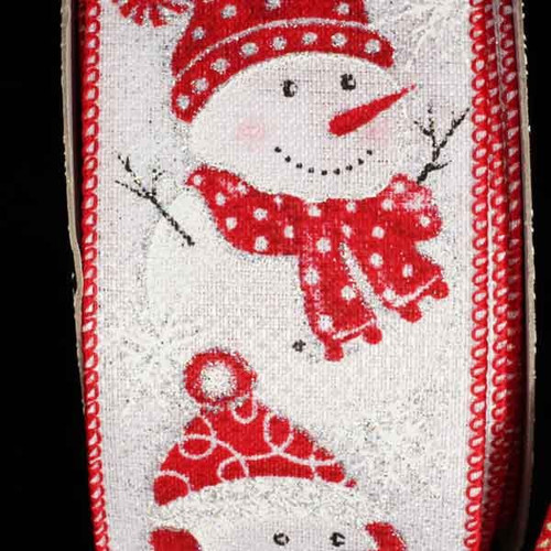 """Red and White Snowman Wired Craft Ribbon 2.5"""" x 20 Yards - IMAGE 1"""