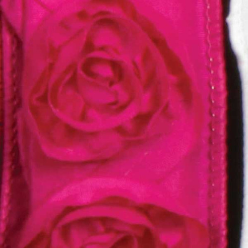 "Pink Contemporary Roses Wired Craft Ribbon 1.5"" x 10 Yards - IMAGE 1"