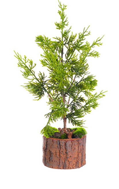 "16"" Green Artificial Cedar Topiary Christmas Table Top Decoration - IMAGE 1"
