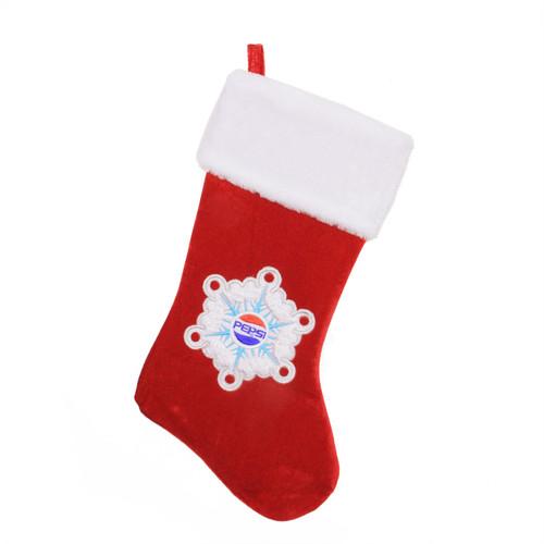 "19.25"" Red and White Pepsi Snowflake Embroidered Christmas Stocking - IMAGE 1"