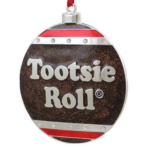 """3.5"""" Silver and Brown """"Tootsie Roll"""" Candy Logo Christmas Ornament - IMAGE 1"""