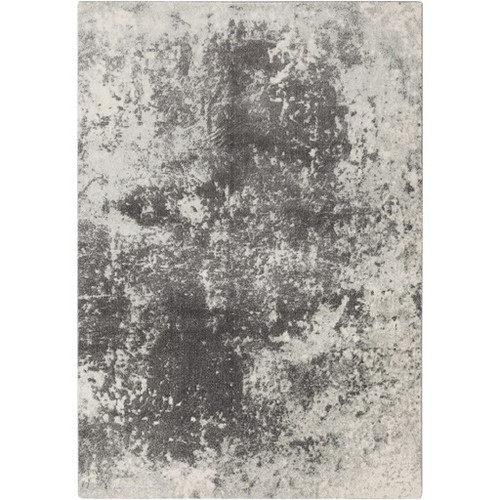 2' x 3' Contemporary Charcoal Gray and White Rectangular Area Throw Rug - IMAGE 1