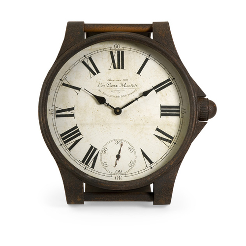 """16.5"""" Bronze Battery Operated Antique Style Wrist Watch Mantle Clock - IMAGE 1"""