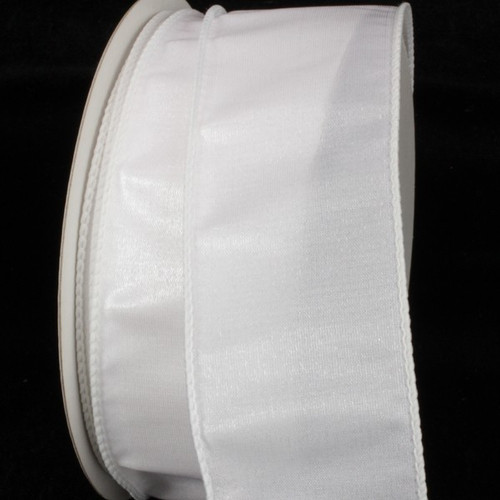 "White Two Tone Wire Edged Craft Ribbon 2"" x 40 Yards - IMAGE 1"