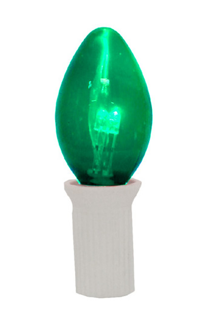 Pack 25 Commercial Transparent Green 3-LED C7 Replacement Christmas Light Bulbs - IMAGE 1