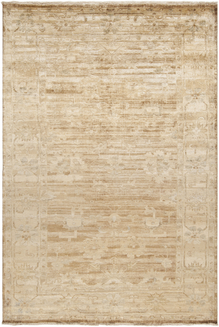 3.5' x 5.5' Konya Cream White and Tan Brown Hand Knotted Wool Area Throw Rug - IMAGE 1