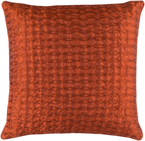 """22"""" Orange Contemporary Quilted Square Throw Pillow - IMAGE 1"""