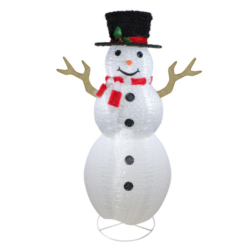 6' Pre-Lit Chenille Swirl Large Snowman with Top Hat Christmas Outdoor Decoration - IMAGE 1