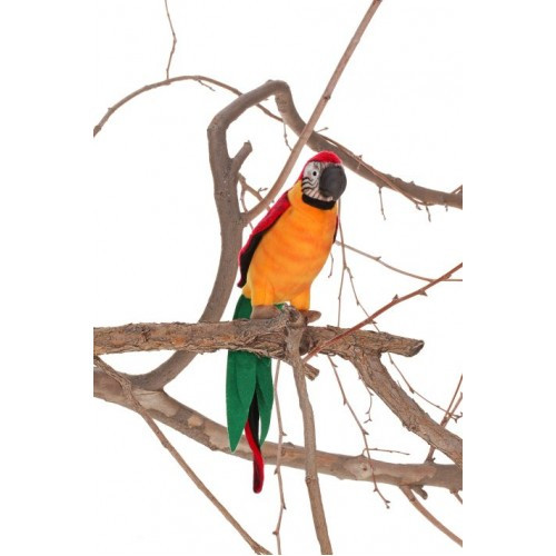 Set of 4 Green and Orange Handcrafted Plush Parrot Bird Stuffed Animals 14.50'' - IMAGE 1