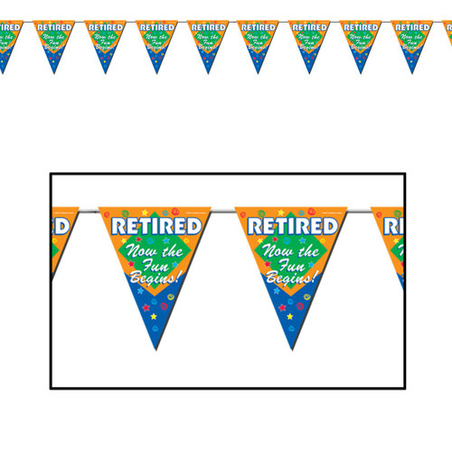 Club Pack of 12 Orange and Blue Retired The Fun Begins! Pennant Banner 12' - IMAGE 1