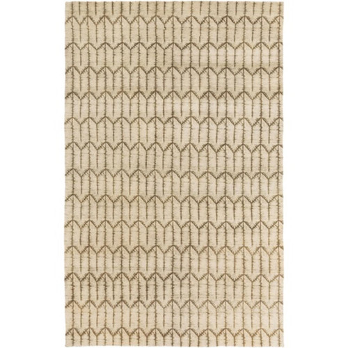 8' x 10' Simpatico Olive Green and Beige Hand Knotted Rectangular Area Throw Rug - IMAGE 1
