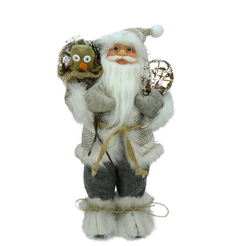 "12.5"" White and Gray Standing Santa with Snowshoes Christmas Tabletop Figurine - IMAGE 1"