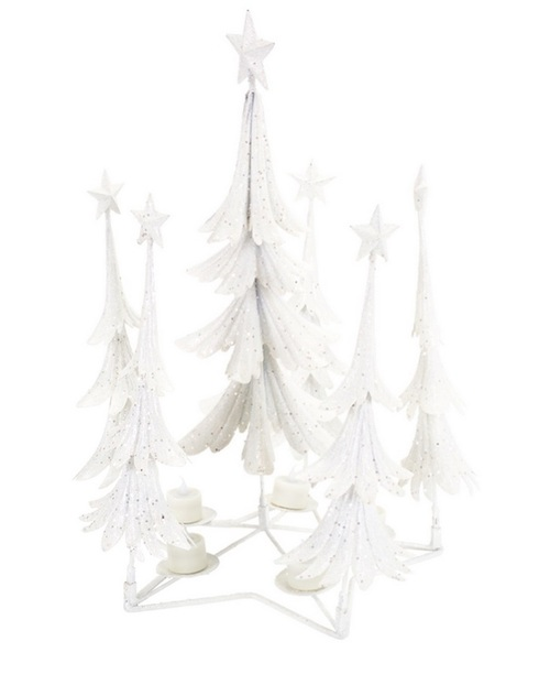 "21"" White Glittered Christmas Tree Tea Light Candle Holder - IMAGE 1"