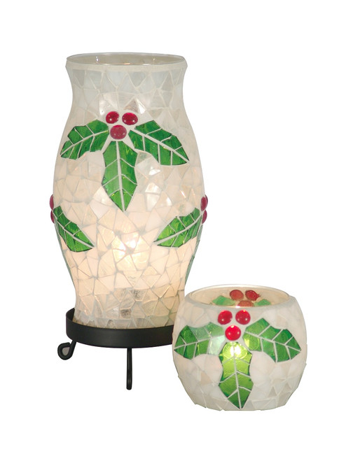 """10"""" Holy Noel Combo Christmas Accent Lamp with White and Green Mosaic and Matching Votive - IMAGE 1"""