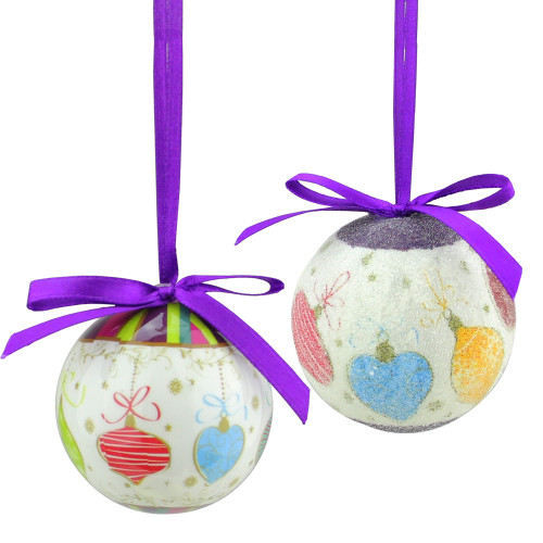 """10ct Purple and White Shatterproof Decoupage Christmas Ball Ornaments 1.75"""" (40mm) - IMAGE 1"""