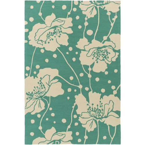 9' x 12' Emerald Green and Cream White Hibiscus Outdoor Area Throw Rug - IMAGE 1