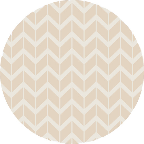 8' Chevron Pathway Beige and White Hand Woven Round Wool Area Throw Rug - IMAGE 1