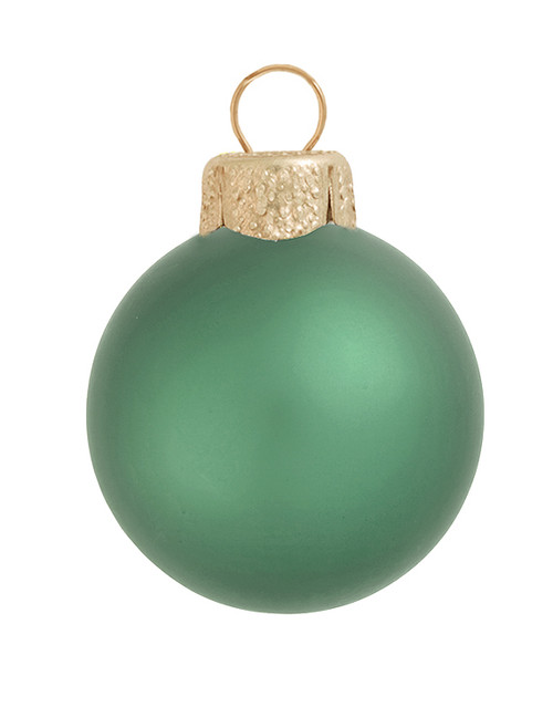 "8ct Soft Green Glass Matte Finish Christmas Ball Ornaments 3.25"" (80mm) - IMAGE 1"