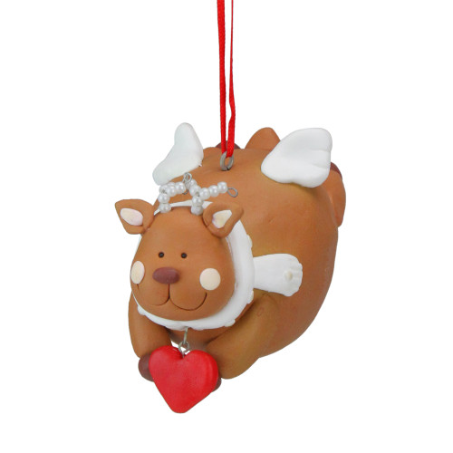 """Club Pack of 12 Brown and White Chubby Reindeer Angel Christmas Ornaments 4"""" - IMAGE 1"""