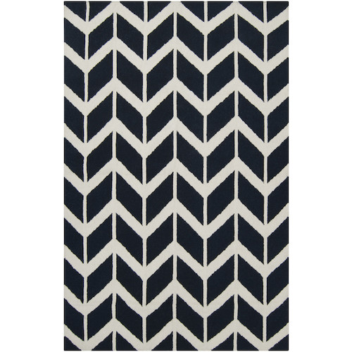 3.5' x 5.5' Chevron Pathway Federal Blue and White Hand Woven Rectangular Wool Area Throw Rug - IMAGE 1