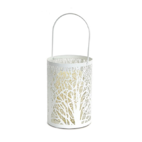"""8"""" White Tree Pattern Battery Operated LED Candle Lantern with Timer - IMAGE 1"""
