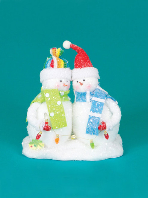 """9.5"""" White and Green Cupcake Heaven Fluffy Snowmen with Light Strand Christmas Tabletop Figurine - IMAGE 1"""