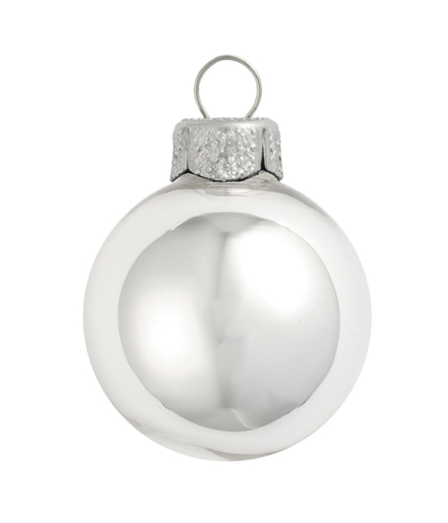"8ct Silver Shiny Glass Christmas Ball Ornaments 3.25"" (80mm) - IMAGE 1"