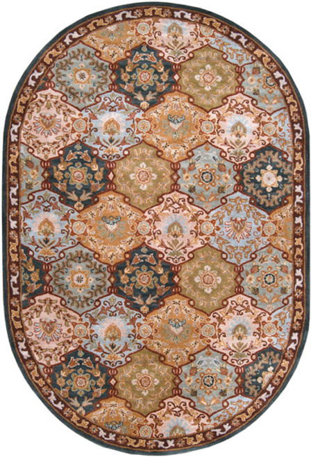 8' x 10' Olive Green and Blue Floral Hand Tufted Wool Area Throw Rug - IMAGE 1