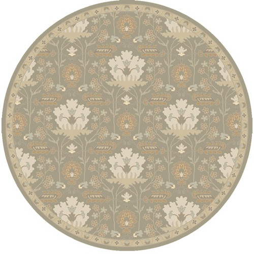 8' Gray and Brown Traditional Hand Tufted Round Area Throw Rug - IMAGE 1