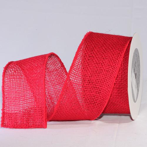 "Cherry Red Burlap Wired Craft Ribbon 3"" x 20 Yards - IMAGE 1"