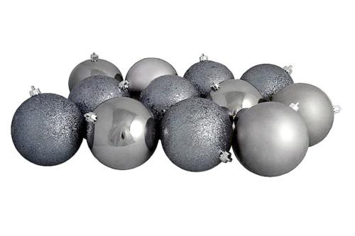 "12ct Gray Shatterproof 4-Finish Christmas Ball Ornaments 4"" (100mm) - IMAGE 1"