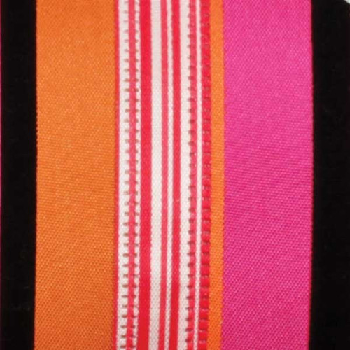 """Pink and Orange Wired Craft Ribbon with Stripes 1.5"""" x 40 Yards - IMAGE 1"""