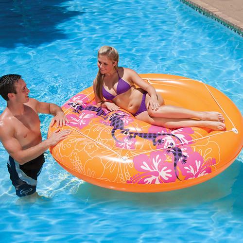 "71"" Inflatable Orange Hawaiian Jumbo Swimming Pool Raft - IMAGE 1"