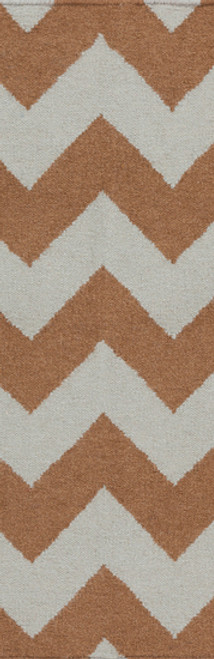 2.5' x 8' Zany ZigZag Brown and Gray Hand Woven Rectangular Wool Area Throw Rug Runner - IMAGE 1