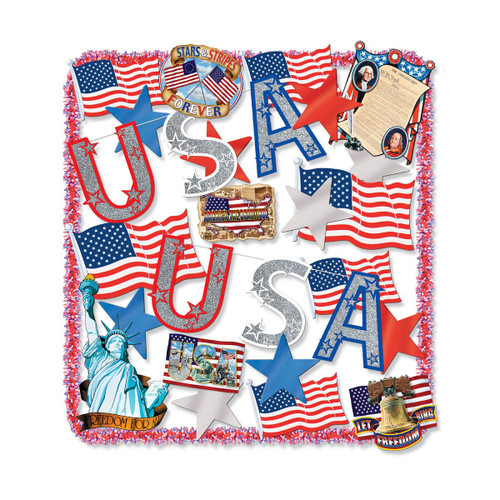 25-Piece Blue and Red Patriotic Party Accessory Kit - IMAGE 1