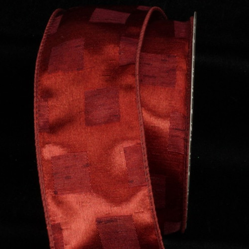 """Red Checked Squares Wired Craft Ribbon 2.5"""" x 20 Yards - IMAGE 1"""