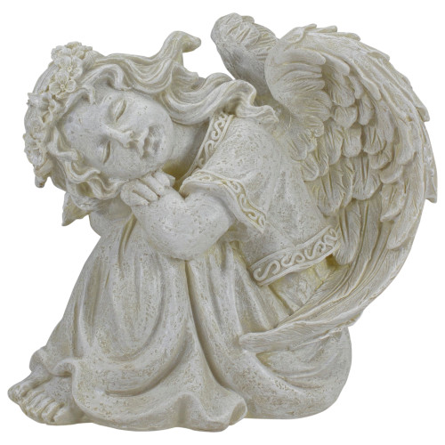 """8.5"""" Ivory Resting Angel with Floral Crown Outdoor Patio Garden Statue - IMAGE 1"""