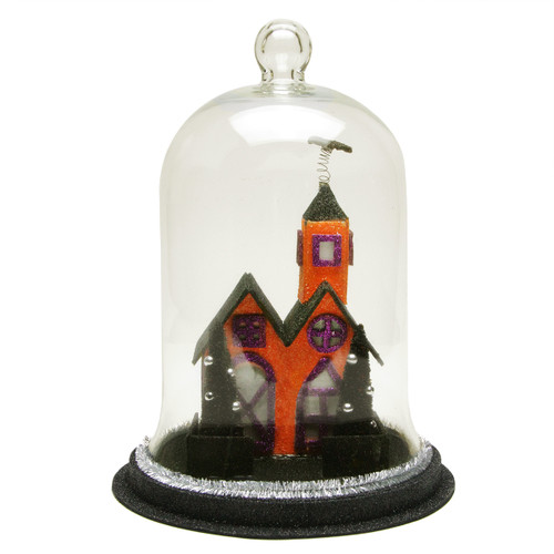 """9.75"""" Clear and Black LED Spooky House Cloche Halloween Tabletop Decor - IMAGE 1"""
