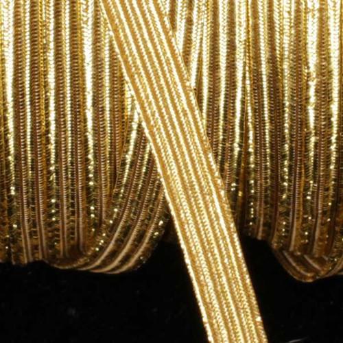 "Gold Contemporary Braided Elastic Trim 0.25"" x 108 Yards - IMAGE 1"