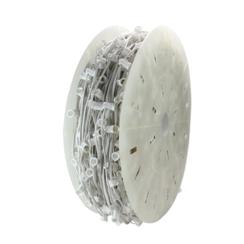"""1000' Commercial C7 Christmas Light Socket Set Spool - 12"""" Spacing White Wire - IMAGE 1"""