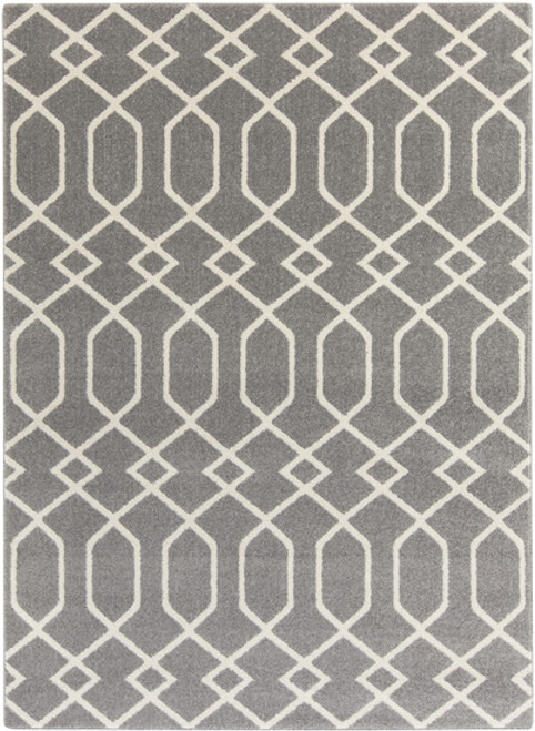 2' x 3' Entwine Passions Charcoal Gray and Ivory White Rectangular Area Throw Rug - IMAGE 1