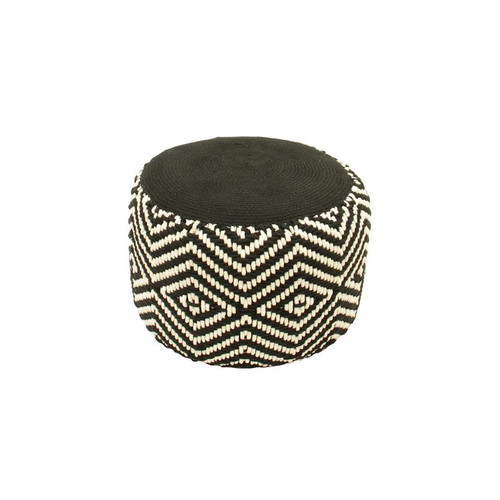 "19"" Basic Luxury Black and White Woven Diamond Footrest Ottoman - IMAGE 1"