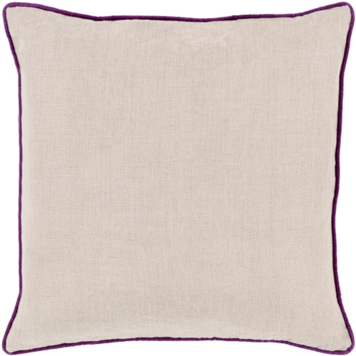 """18"""" Beige and Purple Contemporary Square Throw Pillow - IMAGE 1"""