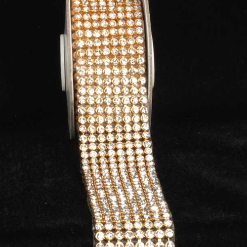 """Crystal Diamonds Craft Ribbon Trim with Gold and Clear Setting 1.5"""" x 1 Yard - IMAGE 1"""